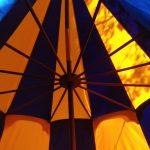 Middeleeuwse tent huren, blauw met geel, rond 6 meter