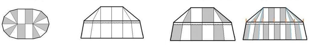 Verkoop middeleeuwse tenten, riddertent kopen, historische tent kopen, bruin met wit