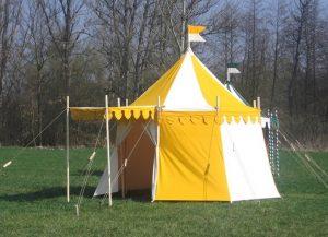 Middeleeuwse tent kopen, geel met wit