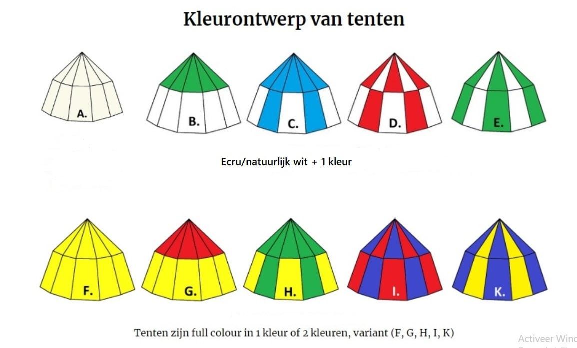 Kleuren keuze riddertent kopen, middeleeuwse tent kopen, kleuren historische tent kopen